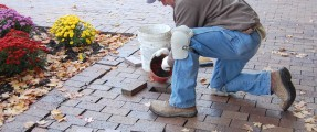 DM Terrill employee laying pavers